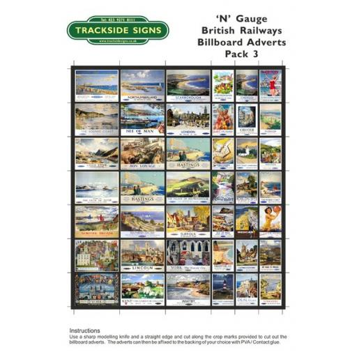 British Railways Billboard Sheet- Pack 3 - N Gauge