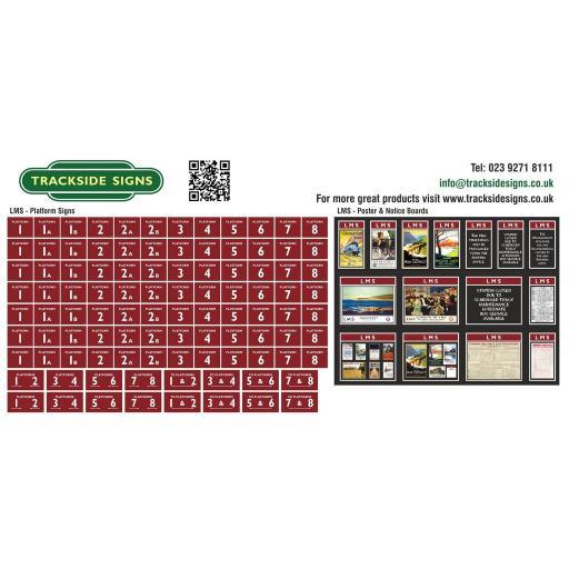 LMS - Platform Numbers and Posterboards - Maroon - OO Gauge