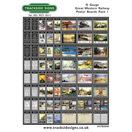Die Cut GWR Poster Boards Pack 1 (Black) - O Gauge