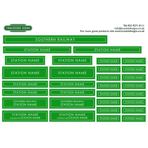 Southern Railway - Station Name Signs - O Gauge - 3 Colour Options Available