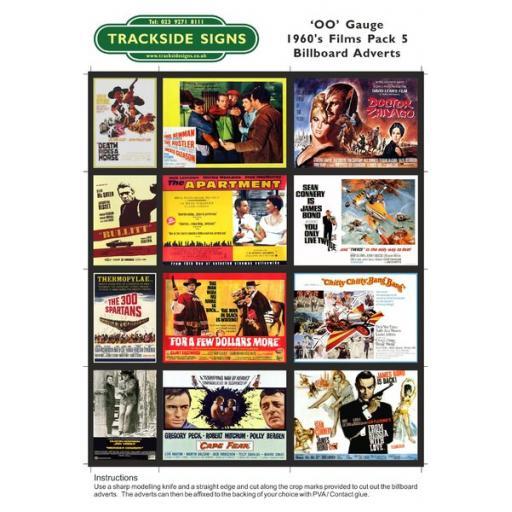 1960's Films Billboard Sheets Pack 5 - OO Gauge