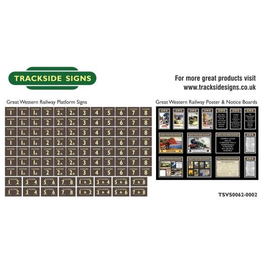 GWR - Platform Numbers and Posterboards - Brown and Cream - N Gauge