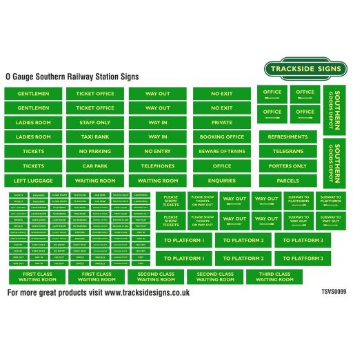 Southern Railway Green and Cream - General Station Signs - O Gauge