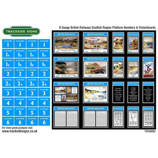 British Railways Scottish Region Platform Numbers and Posterboards - O Gauge