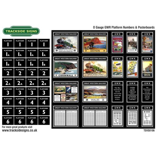 GWR - Platform Numbers and Posterboards - Black - O Gauge