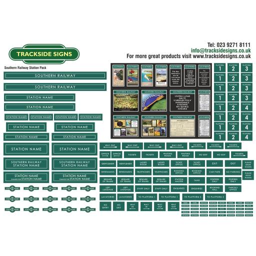 Southern Railway (Dark Green and White) Small Station Sign Packs - OO Gauge