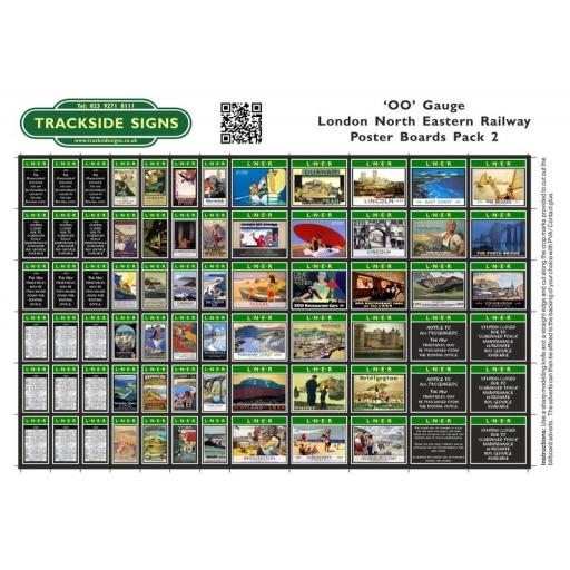 LNER - Poster Board Sheets Pack 2 - OO Gauge