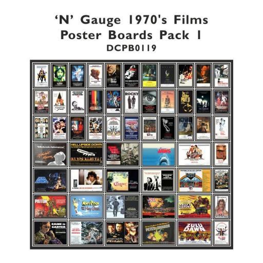 Die Cut 1970's Films Poster Boards - N Gauge