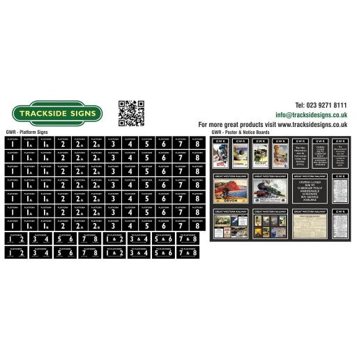 GWR Platform Numbers and Posterboards - Black - OO Gauge