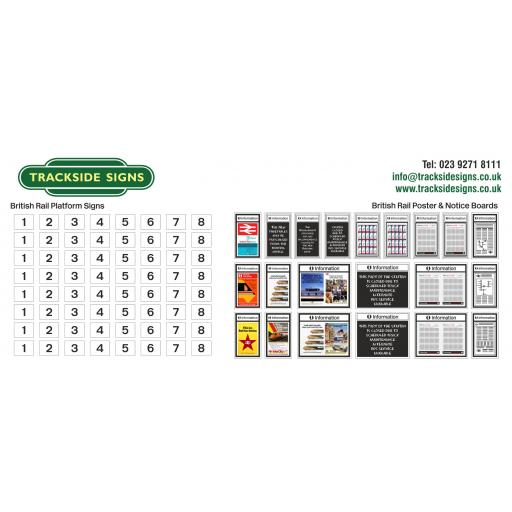 British Rail - Platform Numbers and Posterboards - OO Gauge