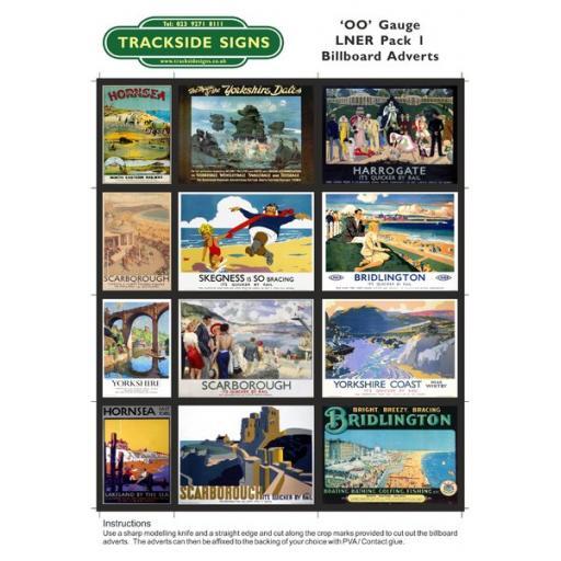 LNER Billboard Sheets Pack 1 - OO Gauge