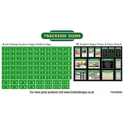 British Railways Southern Region Platform Numbers and Posterboards - N Gauge