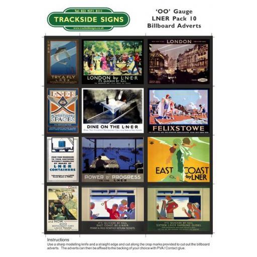 LNER Billboard Sheets Pack 10 - 'OO' Gauge