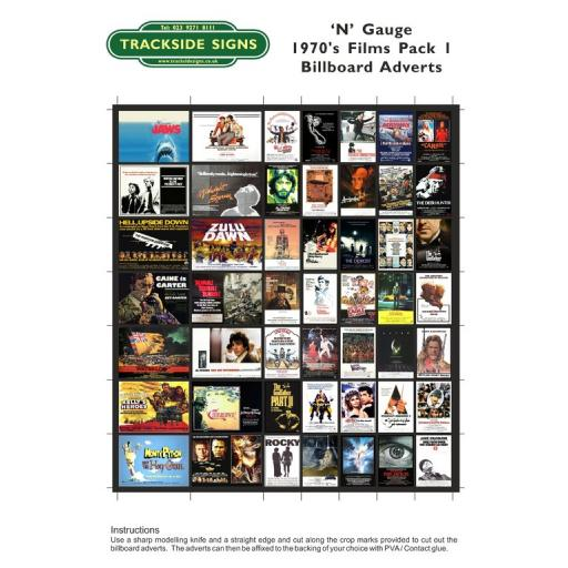 1970's Films - Billboard Sheets - Pack 1 - 'N' Gauge