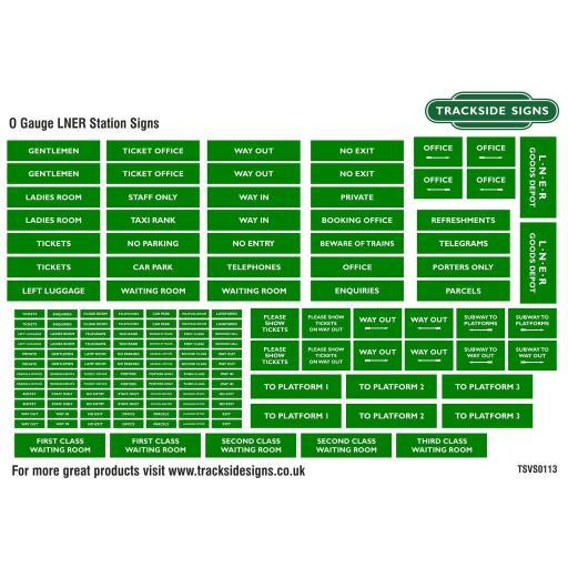 LNER Green and White - General Station Signs - O Gauge