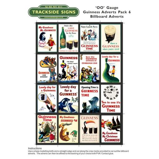 Guinness Films Billboard Sheets Pack 6 - 'OO' Gauge