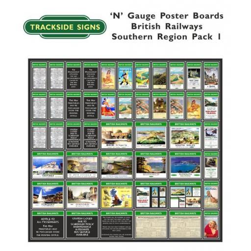 Die Cut British Railways Southern Region Poster Boards - N Gauge