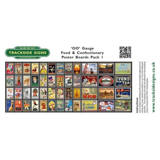 Food & Confectionary Station Poster Board Sheets Pack 1 - 'OO' Gauge