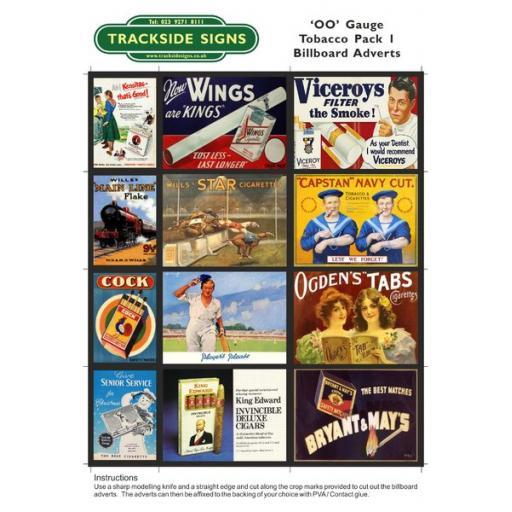 Tobacco Billboard Sheets Pack 1 - 'OO' Gauge