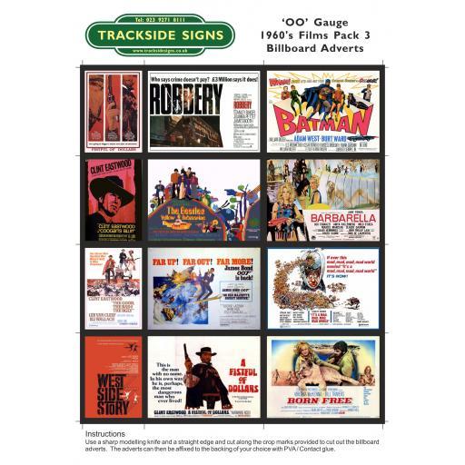 1960's Films Billboard Sheets Pack 3 - OO Gauge