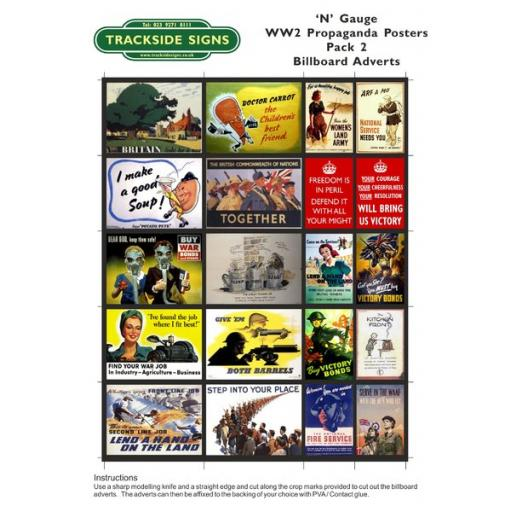 WW2 Propaganda - Billboard Sheets - Pack 2 - 'N' Gauge