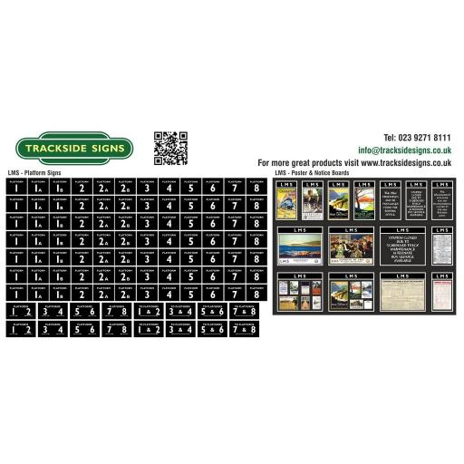 LMS - Platform Numbers and Posterboards - Black - OO Gauge