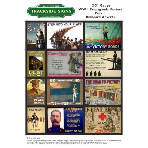 WW1 Billboard Sheets - Pack 1 - OO Gauge