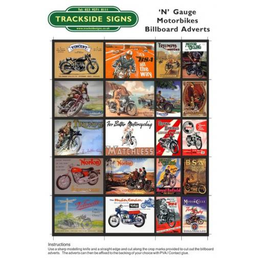 Motorbike - Billboard Sheets - N Gauge