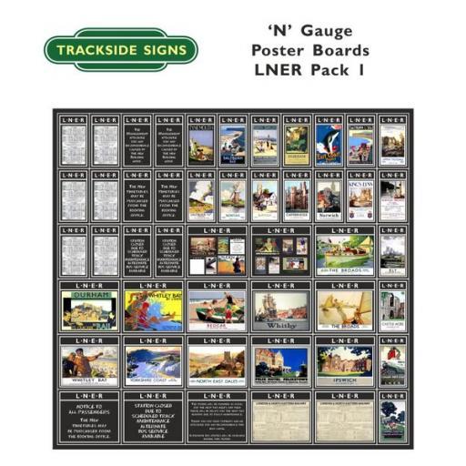 Die Cut LNER Poster Boards (Black) Pack 1 - N Gauge