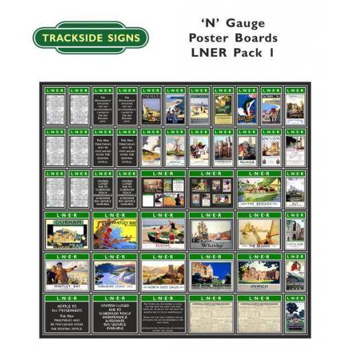 Die Cut LNER Poster Boards (Green) Pack 1 - N Gauge