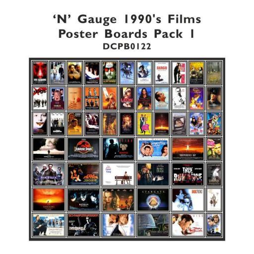 Die Cut 1990's Films Poster Boards - N Gauge