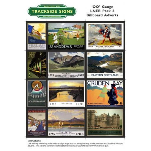 LNER Billboard Sheets Pack 6 - 'OO' Gauge