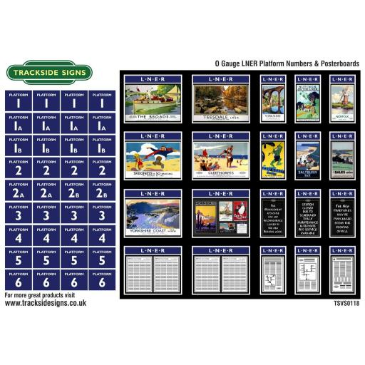 LNER - Platform Numbers and Posterboards - Blue - O Gauge