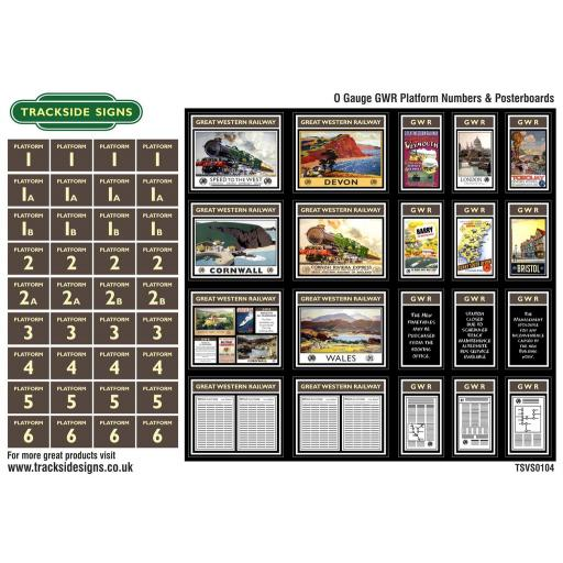 GWR - Platform Numbers and Posterboards - Brown and Cream - O Gauge