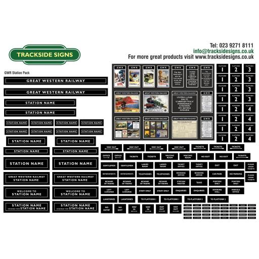 GWR (Black) Small Station Sign Packs - OO Gauge