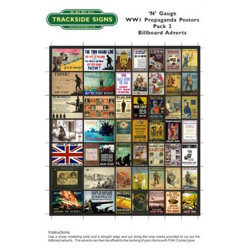 WW1 Propaganda Billboard Sheets Pack 2 - 'N' gauge - 2mm
