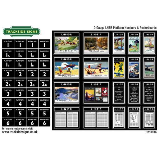 LNER - Platform Numbers and Posterboards - Black - O Gauge