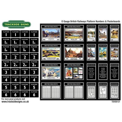 British Railways Platform Numbers and Posterboards - O Gauge