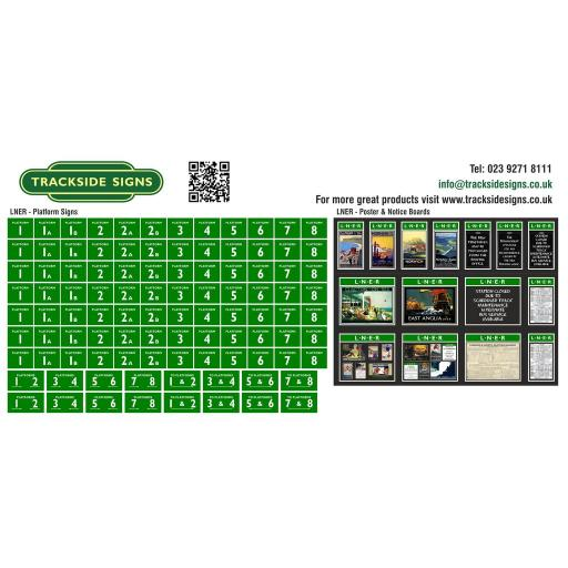 LNER - Platform Numbers and Posterboards - Green and White - OO Gauge