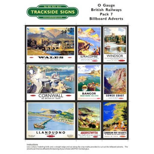 British Railways Billboard Sheet- Pack 7 - O Gauge