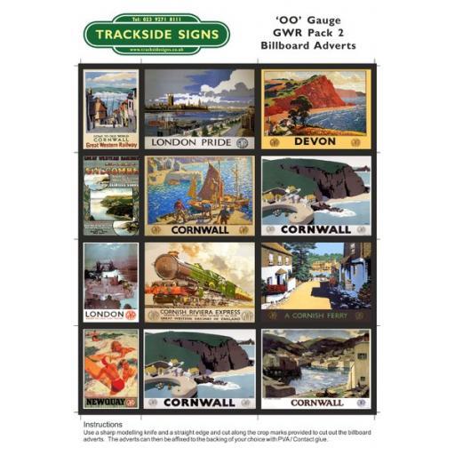 GWR Billboard Sheets Pack 2 - 'OO' Gauge