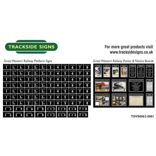 GWR - Platform Numbers and Posterboards - Black - N Gauge