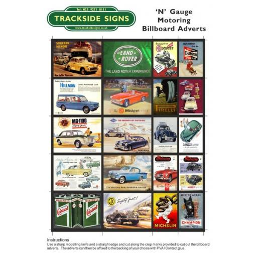 Motoring Billboard Sheets - N Gauge