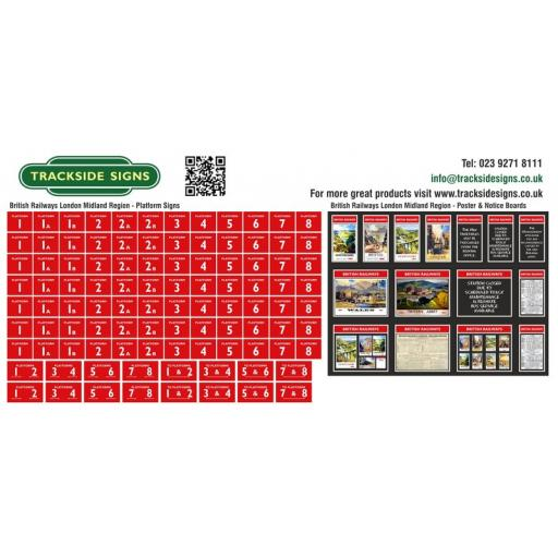 British Railways London Midland Region Platform Numbers and Posterboards - OO Gauge