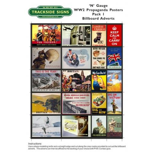 WW2 Propaganda - Billboard Sheets - Pack 1 - 'N' Gauge