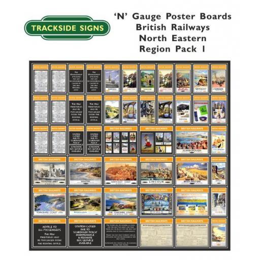 Die Cut British Railways North Eastern Region Poster Boards - N Gauge