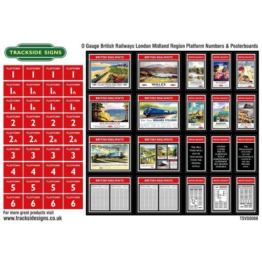 British Railways London Midland Region Platform Numbers and Posterboards - O Gauge