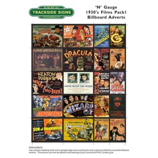 1930's Films - Billboard Sheets - Pack 1 - N Gauge