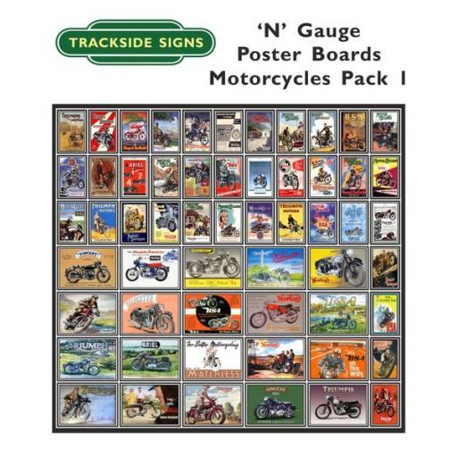 Die Cut Motorcycle Poster Boards - N Gauge