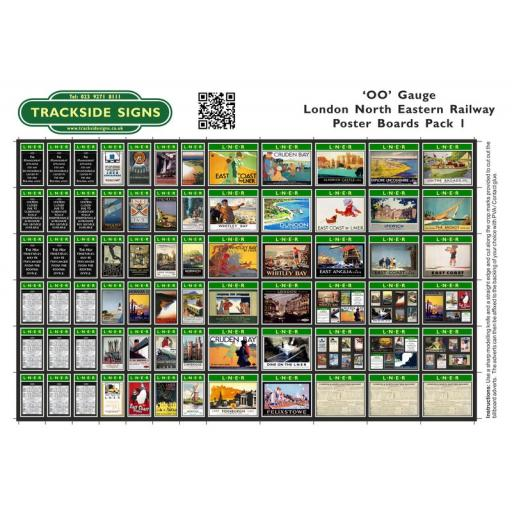 LNER - Poster Board Sheets Pack 1 - OO Gauge